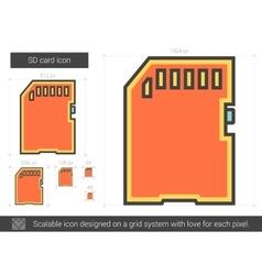 SD card line icon vector