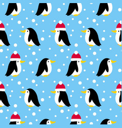 seamless pattern with many small penguins vector image