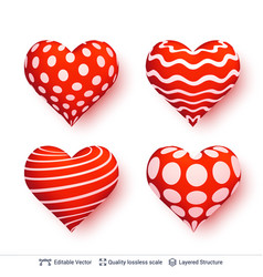 set of 3d hearts with red and white patterns vector image