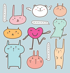 Set of cute animal sticker vector