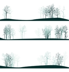 Set of different landscapes with winter trees vector