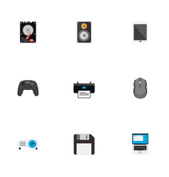 set of pc icons flat style symbols with control vector image