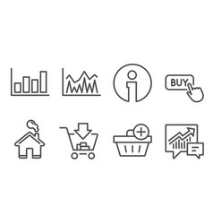 shopping add purchase and report diagram icons vector image