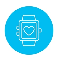 Smartwatch with heart sign line icon vector image
