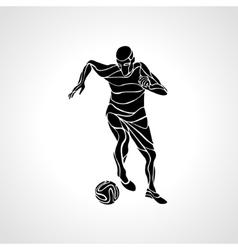 soccer player kicks ball black silhouette vector image