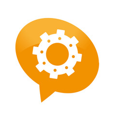 Speech bubble with gear machine isolated icon vector