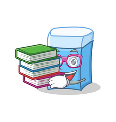 student with book eraser character mascot style vector image