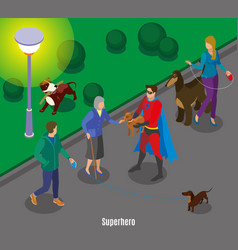 super hero holding dog vector image