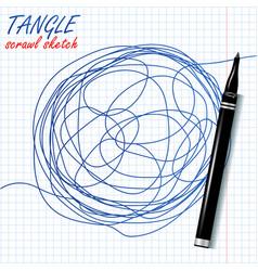 tangle scrawl sketch drawing circle vector image