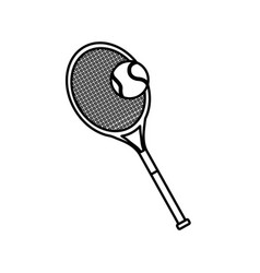 tennis racket and ball sport equipment line vector image