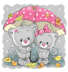 Two cute cartoon kittens with umbrella vector
