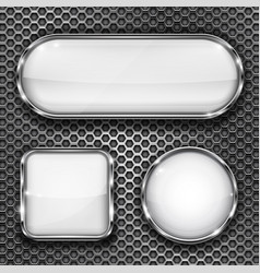 white glass buttons on metal perforated background vector image