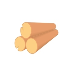 Wooden logs icon in cartoon style vector image