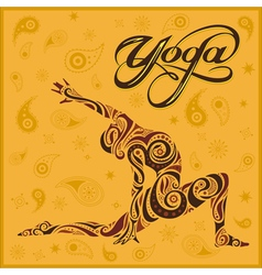 Yoga yellow background vector
