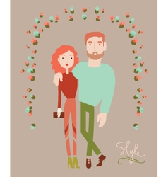 Young stylish couple in love Man and woman fashion vector image vector image
