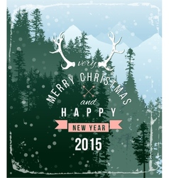 landscape with Christmas type design vector image vector image