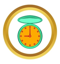 Pocket watch with cover icon cartoon style vector image