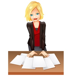 A woman in the office vector image
