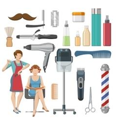 Beauty salon decorative icons set vector