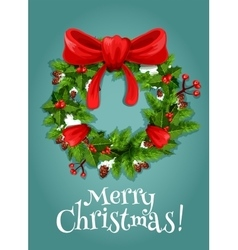 Christmas wreath with red berry and bow vector image vector image