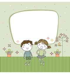 Cute cartoon kids frame vector image vector image