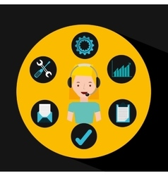 Girl blonde support operator assistance vector
