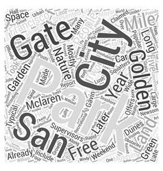 Golden gate park word cloud concept vector