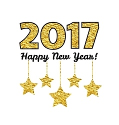 Happy New Year 2017 card with gold star isolated vector image vector image