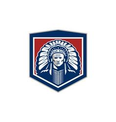 Native American Chief Shield Retro vector image vector image