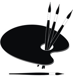 palette and paint brushes vector image vector image