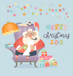 santa claus sitting in armchair and reading letter vector image