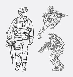 Soldier army action hand drawing style vector