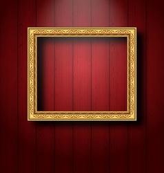 Vintage picture frame on wooden wall vector image