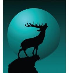 deer and moon vector image