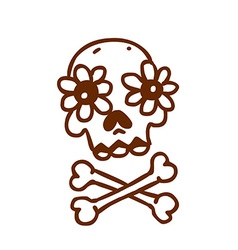 Hand Drawn Skull and Bones with Floral Element vector image