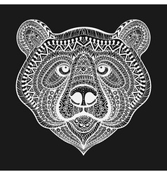 Zentangle stylized White Bear face Hand Drawn vector image vector image
