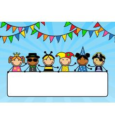 Cartoon children in carnival costumes hold a poste vector image vector image