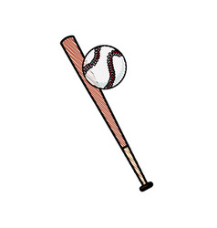drawing bat and ball baseball sportive equipment vector image