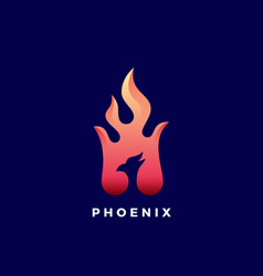 negative space phoenix flame abstract sign vector image vector image