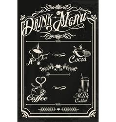 Restaurant drink menu design with chalkboard vector