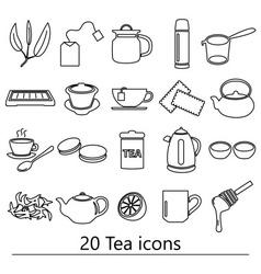 tea theme black simple outline icons set eps10 vector image