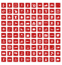 100 hand icons set grunge red vector image