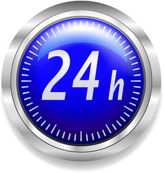 24 hours around the clock symbol on blue and vector image