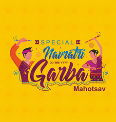 a couple navratri garba dance style logo template vector image