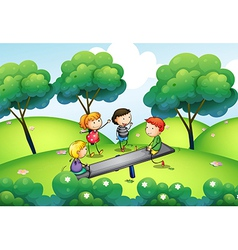 A group of kids playing at the top of the hill vector image