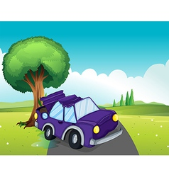 A violet car bumping the big tree at the road vector image