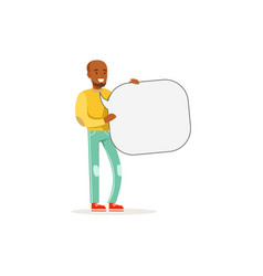 african man character with empty message board vector image