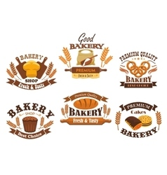 Bakery shop isolated icons set vector image