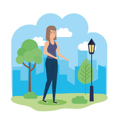 beautiful woman in the park character vector image