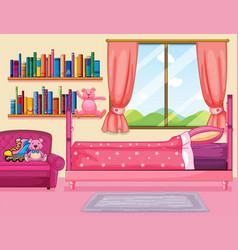 Bedroom scene with pink bed vector